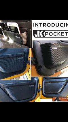 Introducing JK Pockets - The first real door pockets for the Jeep Wrangler JK - Camper Wrangler - Truck Jeep Wrangler Jk, Jeep Jku, Jeep Wranger, Jeep Wrangler Interior, Jeep Cherokee Xj, Jeep Jk Accessories, Jeep Wrangler Unlimited Accessories, Jeep Mods, Accessoires De Jeep Wrangler