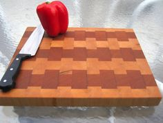 sweetlooking unique cutting boards. Black Cherry and Hard Maple End Grain Cutting Board  ready to ship Walnut Hickory White Oak by psItsDebbie