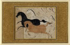 Three horses (white, black and chestnut) galloping across a bare landscape, chestnut horse has a lasso round its neck and white horse round its hind legs. Copyright the Trustees of the British Museum. Painted Horses, Art And Illustration, Horse Galloping, Art Antique, Iranian Art, Horse Sculpture, Inspiration Art, Art For Art Sake, Equine Art