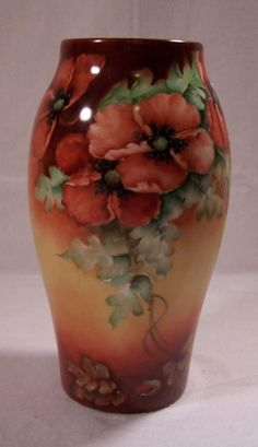 Limoges: Porcelain by 48 Different Companies: Limoges Poppy Vase