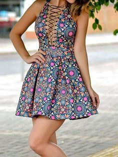 Women Sleeveless Bandage Floral Casual Mini Dress
