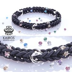 Black Rainbow Swarovski Zirconia bracelet with 3 silver elements. Designer fashion bracelet by KAIROS. Swarovski Bracelet, Fashion Bracelets, Rainbow, Silver, Fashion Design, Black, Jewelry, Armband, Jewellery Making