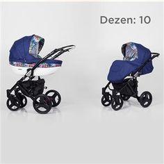 Kunert Mila kolica za bebe - crni ram, set 2u1 dezen 10