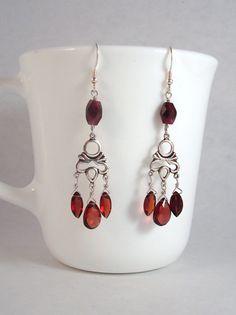 garnet  and sterling silver chandelier earrings by KeeDesigns, $45.00