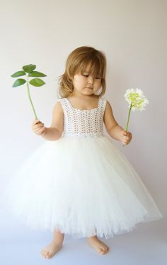 Ankle Length Baby Girl Tutu Dress. Flower Girl Tulle Dress with Lace Stretch Crochet Bodice in pale pink.