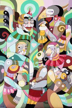 """Reptilians by Fernando Chamarelli, acrylic on canvas, 90 x 60 cm (35.5"""" x 23.7""""), 2012"""