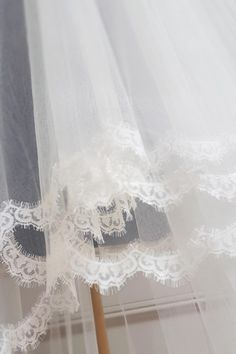 Stunning narrow lace we use on one or teo tier veils. White or Ivory. Online sales or in store. Bridal by Tamem Michael, Wedding Veils, Belts, Accessories Online Shop, Dublin, Ireland.