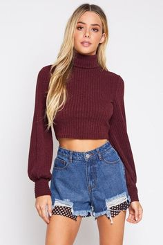 1f212bdf2 Turtle neck crop top is a winter fashion essential. Perfect item if you  want to recreate that look and have that vintage vibe outfit.