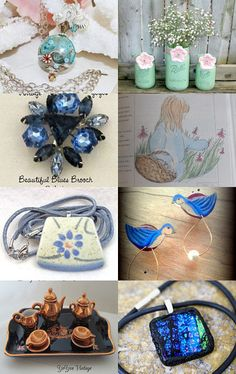 Beautiful blues from All or Nothing by Daveda on Etsy--Pinned with TreasuryPin.com