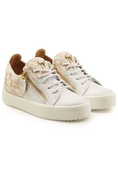 e2f6c3899d543 Leather Platform Sneakers with Velvet - Giuseppe Zanotti