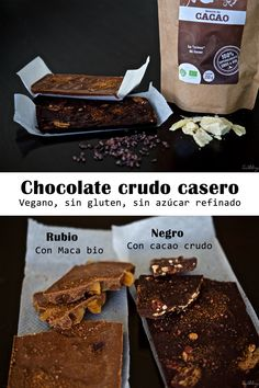 Chocolate crudo Sin Gluten, Gluten Free, Breakfast Snacks, Raw Food Recipes, Chocolate Recipes, Healthy Cooking, Recipies, Keto, Lactose