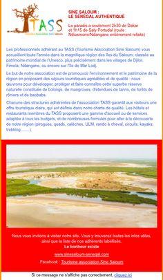 newsletter du site de promotion du tourisme dans la région Sine Saloum au Sénégal novembre 2014