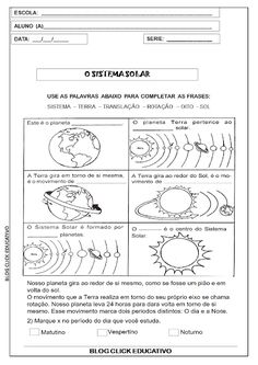 2º ANO: SEQUENCIA DIDÁTICA SOBRE SISTEMA SOLAR PARA IMPRIMIR ~ Clicks Educativos Social Studies Projects, Learn Portuguese, Science Activities, School Days, Save Energy, Teaching, Professor, Ideas, Earth Science Activities