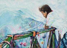 Entre la gente de las burbujas | Between the people of the bubbles | Acrílico sobre lienzo | Acrylic on canvas by Pili Tejedo 60 x 90 cm