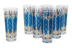 Turquoise Highball Glasses, Set of 7