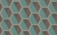 Charm Hexagon (331216) - Eijffinger Wallpapers - A bold hexagon shaped geometric pattern, creating a honeycomb design with a distressed effect and horizontal textured lines. With a taupe outline and dark brown and deep jade green blue shapes and subtle glitter highlights. Please request a sample for true colour and texture. Paste the wall.