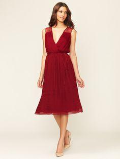 Pleated Chiffon Deep V Dress by ADAM on Gilt.com