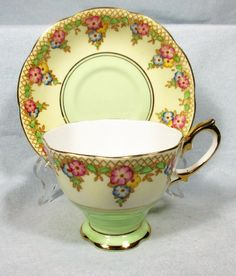 "THIS IS A BEAUTIFUL TEACUP AND SAUCER. THIS SET WAS MADE BY ROYAL ALBERT, OF FINE BONE CHINA, IN ENGLAND. THEY ARE IN THE ""TRELLIS"" PATTERN. THEY ARE IN EXCELLENT CONDITION, WITH NO CHIPS, CRACKS, OR CRAZING. 