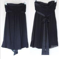⚡️BCBG MAXAZRIA black strapless mini dress A sweet and dainty LBD with a thick ribbon that ties in the back. Empire-like waist. Strapless. EUC! BCBGMaxAzria Dresses Mini