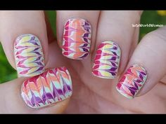 Drag Marble In Gold And Purple: Today's nail art video is an easy needle nail art tutorial, gold and purple marble nails. Swirl Nail Art, Nail Art Diy, Easy Nail Art, Diy Nails, Glam Nails, Nail Nail, Stiletto Nails, Coffin Nails, Marble Nail Designs