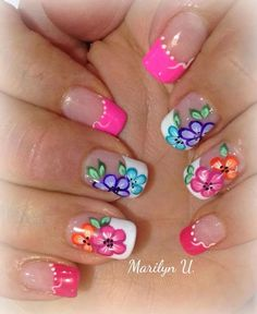 Short nails nail art design for summer Fingernail Designs, Nail Polish Designs, Nail Art Designs, Spring Nail Art, Spring Nails, Summer Nails, Flower Nail Art, Flower Nail Designs, Beautiful Nail Designs
