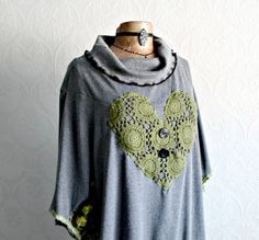 Gray Tunic Top Plus Size Clothing 2X Olive Green Lace Heart Applique Loose Fit Shirt Bohemian Clothing Eco Friendly Cowl Neck Top 'SIERRA'