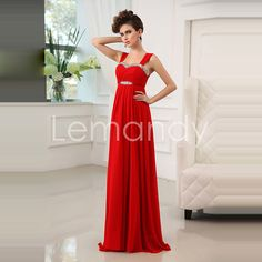 beaded neckline straps red chiffon evening dress in handmade. $155.00, via Etsy.