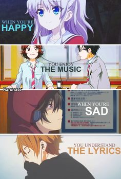 """When you're happy, you enjoy the music. When you're sad, you understand the lyrics."" Anime: Charlotte - Shigatsu wa kimi no uso - Tamako Love Story ( so I'm always sad) Sad Anime Quotes, Manga Quotes, True Quotes, Happy Quotes, Anime Quotes About Life, Naruto Quotes, Citation Pinterest, Desu Desu, Tamako Love Story"