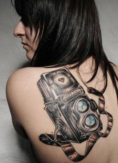 3D Camera Tattoo Design On Back