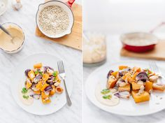 butternut squash and red onion salad with tahini souce, w kuchni wieczorem, food photography, food styling