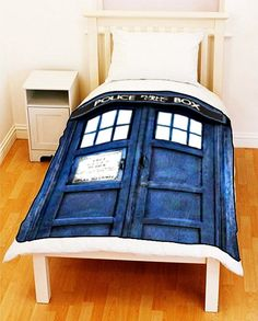 Doctor Who TARDIS Police Public Call Box Fleece Blanket by ilovepop, $35.00