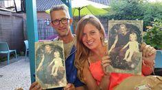 foto's op hout voor vader en dochter :-)