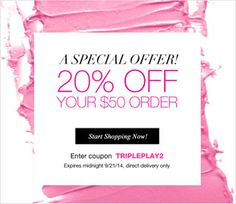 A #Special Offer! 20% OFF Your $50 Order. Enter #coupon TRIPLEPLAY2 Expires midnight 9/21, direct delivery only. Start shopping now at https://krislingsch.avonrepresentative.com