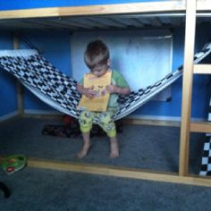 Kids bunk bed hammock. This was super easy to make and boys love it!