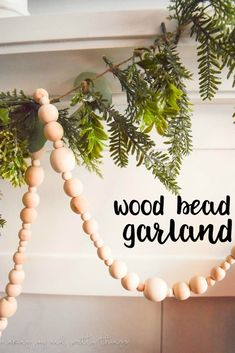 How To Make Your Own Wood Bead Garland Simple Farmhouse Decor Diy Projects Christmas Garland Diy Christmas Decorations, Diy Christmas Garland, Noel Christmas, Winter Christmas, Holiday Crafts, Xmas, Fall Crafts, Diy Crafts, Pink Christmas