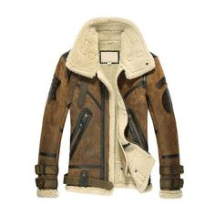 CWMALLS Men's Sheepskin Shearling Bomber Jacket ❤ liked on Polyvore featuring men's fashion, men's clothing, men's outerwear, men's jackets, mens sheepskin jacket, mens bomber jacket, mens blouson jacket and mens jackets