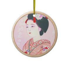 Kyoto Brocade, Four Leaves - Spring japanese lady Ornament #kyoto #spring #lady #beauty #geisha #pink #kimono #cherry #sakura #Japan #oriental #vintage #gift #classic #girl #girly #pinky