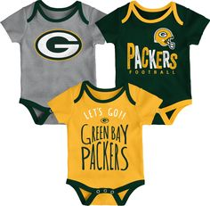337c811fd Team Apparel Infant Green Bay Tailgater 3-Piece Onesie Set