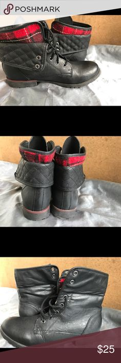 Combat boots These are black leather combat boots with a flip over top turning into a soft plaid fabric. These are brand new never worn but the tags got ripped off. Excellent condition. rock & candy Shoes Combat & Moto Boots