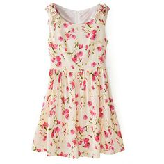 Bowknot Embellishment Pleated Floral Print Slim Dress (650 MXN) ❤ liked on Polyvore featuring dresses, flowers, flower print dress, pink floral dress, pleated dresses, pleated cocktail dress and floral print dress