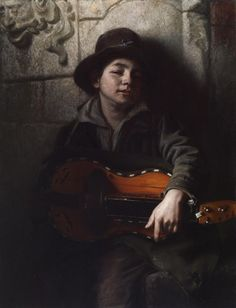 """Richard Caton Woodville's """"The Italian Boy with Hurdy-Gurdy"""" (ok, it's less that I love this painting, and more that I want to learn to play the Hurdy-Gurdy)"""