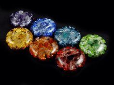 Orgonite Chakra Set ... Orgone Positive Energy Generators. Arkansas Crystals, Gemstones (see list in description)