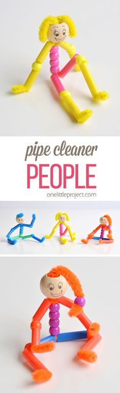 These beaded pipe cleaner people are SO CUTE and they're really simple to make! With pipe cleaners, pony beads and drinking straws, you can make a realistic looking person with arms and legs that bend and flex. This is such a fun kids craft and a great lo Fun Crafts For Kids, Craft Activities For Kids, Toddler Crafts, Crafts To Do, Toddler Activities, Projects For Kids, Diy For Kids, Kids Fun, Fun Kids Games