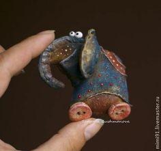 Брошка - слоник - синий,слон,брошка,текстильная брошь,синий слоник,хлопок 100%