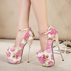 US$ 79 Womens High Heel Platform Ankle Strap Pumps Floral Peep Toe Sexy Stilettos Shoes