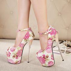 US$ 79 Womens High Heel Platform Ankle Strap Pumps Floral Peep Toe Sexy Stilettos Shoes