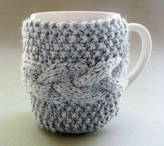 Knitting Projects, Crochet Projects, Knitting Patterns, Crochet Patterns, Mug Cozy, Coffee Cozy, Crochet Cup Cozy, Knit Crochet, Crochet Crafts