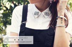 good vibes embroidered shirt