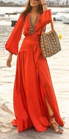 Fashion Dress Fashion deep v-neck long lantern sleeve plain high slit . - Fashion Dress Fashion deep v-neck long lantern sleeve plain high slit women dress, variou - Women's Fashion Dresses, Women's Dresses, Boho Fashion, Casual Dresses, Womens Fashion, Style Fashion, Fashion Fall, Fast Fashion, Dress Vestidos