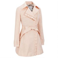Jessica Simpson Ruffle Trim Fabric Trench